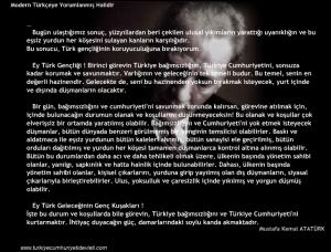 Ataturk'un Genclige Hitabesi, Modern Turkceye Yorumu